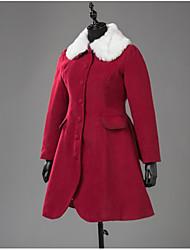 cheap -Winter Sweet Lolita Coat Princess Wool Women's Girls' Adults' Coat Cosplay Red Long Sleeves