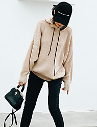 Women's Casual/Daily Short Pullover,Solid Hooded Long Sleeves Acrylic Fall Winter Medium Micro-elastic