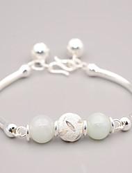 cheap -Women's Jade Gemstone Silver Ball Bangles - Asian Vintage Silver Bracelet For Graduation New Year