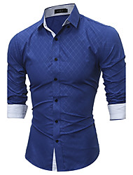 Men's Daily Plus Size Sexy Shirt,Plaid Shirt Collar Long Sleeves Cotton Polyester Medium