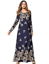 cheap -Women's Daily Tunic Dress,Solid Floral Round Neck Maxi Long Sleeve Polyester All Season Mid Rise Micro-elastic Opaque