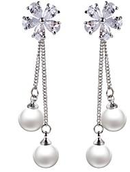 Women's Drop Earrings Sweet Imitation Pearl Alloy Circle Flower Jewelry For Formal Valentine