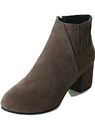 baratos -Mulheres Sapatos Pele Nobuck Inverno Forro de fluff Botas da Moda Conforto Botas Salto Robusto Dedo Apontado Botas Curtas / Ankle Rendado