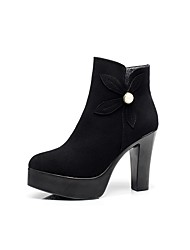cheap -Women's Shoes Flocking Winter Fur Lining Boots Chunky Heel Round Toe Booties/Ankle Boots Imitation Pearl for Dress Party & Evening Black