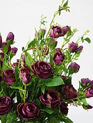 abordables -1 Une succursale Soie Roses Fleur de Table Fleurs artificielles