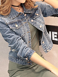 cheap -Women's Daily Simple Casual Spring, Fall, Winter, Summer Denim Jacket,Solid V Neck Long Sleeve Short Cotton