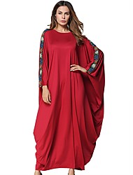 cheap -Women's Swing Dress - Solid Colored Red Maxi