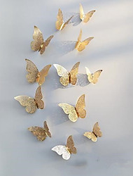 cheap -3D Butterfly Wall Decals Stickers Decorations Gold Hollow-out 12 PCS Butterflie