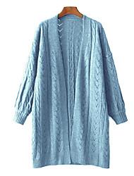 Standard Pullover Da donna-Per uscire Andare Semplice Tinta unita Incavato A V Manica lunga Lana d'angora Autunno Sottile Media elasticità