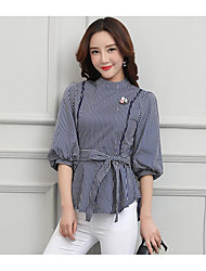 Women's Daily Wear Vintage Shirt,Striped Hollow Crew Neck Half Sleeves Cotton