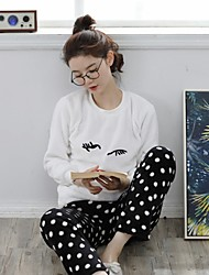 cheap -Women's Suits Pajamas,Print Polka Dot Cashmere White
