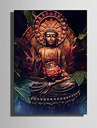 cheap -E-HOME® Stretched LED Canvas Print Art The Buddha Flash Effect LED Flashing Optical Fiber Print