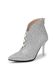 Damen Schuhe PU Frühling Komfort High Heels Flacher Absatz Für Normal Silber Rot