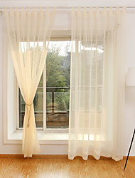 Rod Pocket Grommet Top Tab Top Double Pleat Curtain Formal Transitional Modern , Solid Bedroom Polyester Blend Material Sheer Curtains