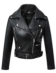 cheap -Women's Daily Simple Casual Winter Fall Leather Jacket,Solid V Neck Long Sleeve Short PU