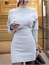 preiswerte -Damen Strickware Kleid-Alltag Freizeit Anspruchsvoll Solide Bateau Mini Langarm Frühling Herbst Hohe Hüfthöhe Dehnbar