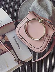 cheap -Women Bags PU Shoulder Bag Buttons for Casual All Season White Black Blushing Pink Brown