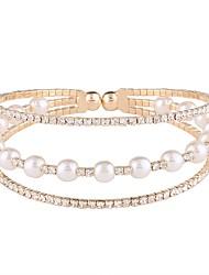 cheap -Women's Rhinestone Imitation Pearl Imitation Pearl Imitation Diamond Cuff Bracelet - Classic Fashion Irregular Gold Silver Bracelet For