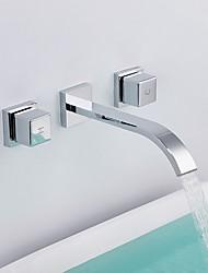Недорогие -Современный Разбросанная Настенное крепление Высокое качество Медный клапан Две ручки три отверстия Хром , Ванная раковина кран