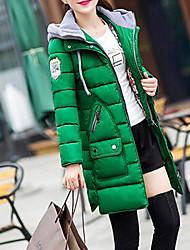 preiswerte -Damen Daunen Mantel,Lang Einfach Lässig/Alltäglich / Übergröße Solide-Andere Baumwolle Langarm Schwarz / Grün