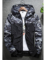 cheap -Men's Daily Weekend Simple Casual Active Spring Fall Regular Jacket, Camouflage Hooded Polyester