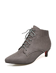 cheap -Women's Boots Comfort Fall Winter Leatherette Walking Shoes Casual Dress Lace-up Kitten Heel Black Gray Ruby Green 1in-1 3/4in