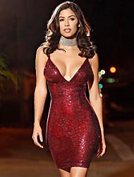 preiswerte -Damen Bodycon Kleid Solide Übers Knie V-Ausschnitt Rot
