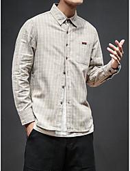 メンズ お出かけ カジュアル/普段着 シャツ,ストリートファッション シャツカラー チェック ポリエステル 長袖