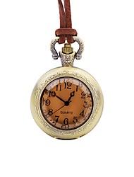 baratos -Homens Relógio de Bolso Chinês Quartzo Mostrador Grande Couro Banda Casual Elegant Marrom