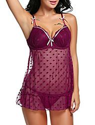 baratos -Mulheres Super Sensual Roupa de Noite Sólido, Média Azul Rosa Vinho