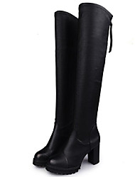 cheap -Women's Shoes Real Leather Winter Slouch Boots Boots Thigh-high Boots For Casual Black