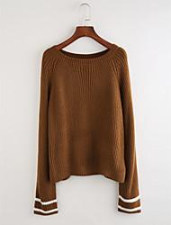 Недорогие -Жен. Однотонный Полоски На каждый день Вязаная ткань Пуловер, Повседневные Длинный рукав Круглый вырез Зима Осень