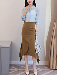 cheap -Women's Work Sexy Blouse Skirt Suits,Solid Long Sleeves Ruffle Split Polyester Spandex