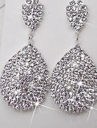 baratos -Mulheres Brincos Compridos - Strass Importante, Elegante Prata Para Cerimônia Palco