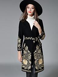 preiswerte -Damen Lolita Einfach Street Schick Anspruchsvoll Ausgehen Lässig/Alltäglich Mantel,Rundhalsausschnitt Herbst Winter Langarm Lang Wolle