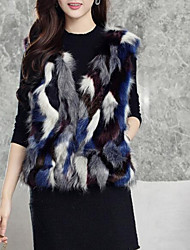 cheap -Women's Daily Going out Street chic Winter Fall Vest,Solid Round Neck Sleeveless Short Faux Fur