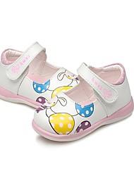 baratos -Para Meninas Sapatos Courino Verão Solados com Luzes Primeiros Passos Conforto Rasos Estampa Animal Colchete para Casual Social Branco