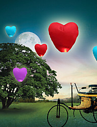 cheap -10Pcs Heart-Shaped Kongming Sky Flying Lanterns Fire Light Wishing Lamp Wedding Party