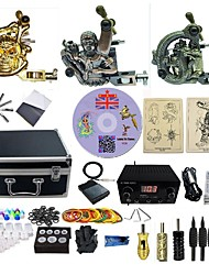cheap -Tattoo Machine Professional Tattoo Kit 3 alloy machine liner & shader High Quality LED power supply 2 x aluminum grip 4 x disposable grip
