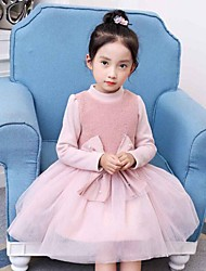 cheap -Girl's Holiday Color Block Dress,Cotton Rayon Winter Fall Long Sleeves Active Princess Red Blushing Pink
