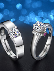cheap -Men's / Women's Cubic Zirconia Engagement Ring / Rings Set - Cubic Zirconia, Silver Adjustable Silver For Wedding / Evening Party / 2pcs