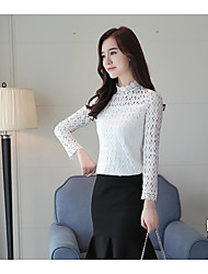 Women's Daily Wear Sophisticated Shirt,Hollow Crew Neck Long Sleeves Cotton
