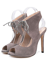 cheap -Women's Shoes Suede Spring / Summer Comfort / Novelty Sandals Peep Toe Gray / Wedding / Party & Evening / Party & Evening / Lace up