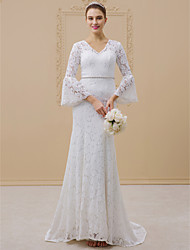 cheap -Mermaid / Trumpet V-neck Sweep / Brush Train Lace Wedding Dress with Beading Sashes/ Ribbons by LAN TING BRIDE®