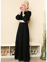 cheap -Women's Daily Going out Abaya Dress,Solid Round Neck Maxi Long Sleeves Cotton All Seasons Mid Rise Micro-elastic Thick