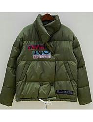 Dámské Standardní Dlouhý kabát Šik ven Běžné/Denní Písmeno-Kabát Umělé hedvábí Dlouhý rukáv
