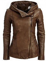 cheap -Women's Daily Simple Casual Winter Fall Leather Jacket,Solid Stand Long Sleeve Short PU
