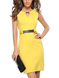 cheap -Women's Going out Slim Bodycon Dress - Solid Colored V Neck