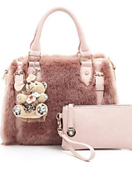 cheap -Women Bags Fur Bag Set 2 Pieces Purse Set Zipper for Casual All Seasons Blushing Pink