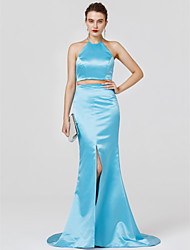 Mermaid / Trumpet Two Piece Halter Sweep / Brush Train Stretch Satin Formal Evening Dress with Bow(s) by TS Couture®